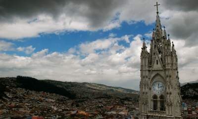 The city skyline in Quito, Ecuador.